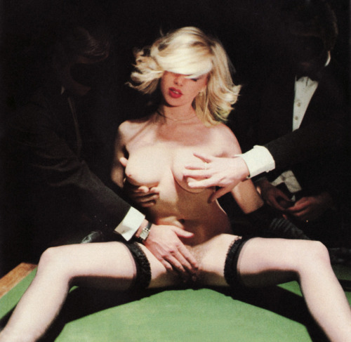 blonde nude model in fishnet stockings marilyn jess being groped by multiple men in tuxedos photgraphed by junger madchen
