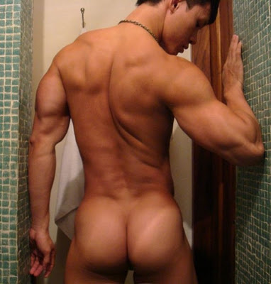 muscled back and ass of naked hot man