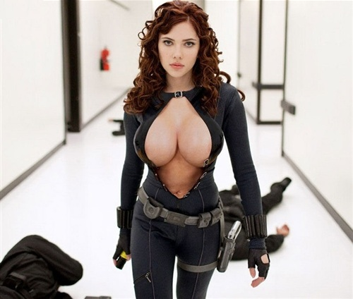 parody of Scarlett Johansson as a huge breasted super heroine in The Avengers