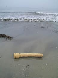 long dildo washed up on a deserted sandy beach
