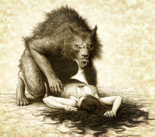 drawing of beast kneeling on submissive woman