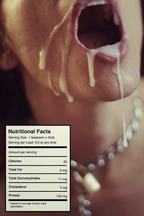 xxx humor image of cumshot with nutrition facts label such as on grocery items